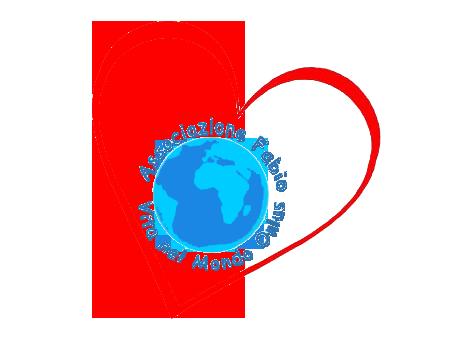 Logo: sagoma di cuore rosso, con all'interno un mondo stilizzato blu e azzurro attorno al quale è scritto il nome dell'associazione