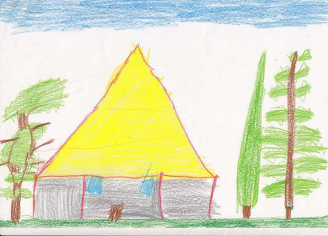 Un bambino, in un disegno, rappresenta una casetta al centro con ai lati tre alberi e un cielo mezzo azzurro e mezzo lasciato incolore